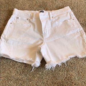 White jean mid rise shorts